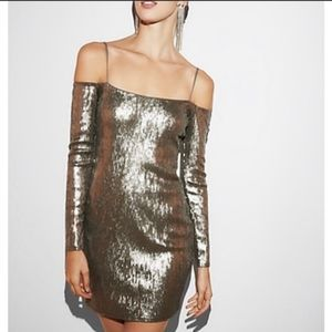 Express rose gold sequin dress NWT